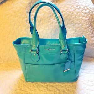 COLE HAAN small leather tote in Aqua